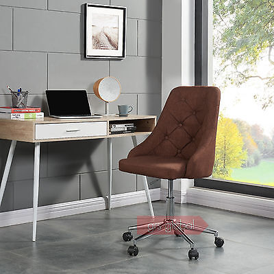 Computer Chair Swivel Home Office Adjule Cushioned Fabric Chrome New