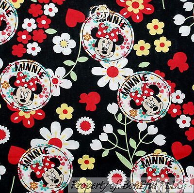 BonEful Fabric FQ Cotton Quilt White Red Disney Minnie Mouse