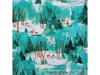 BonEful Fabric FQ Cotton Quilt Red Cardinal Bird Xmas Winter Scenic Tree Branch