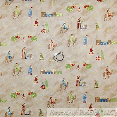 Scene Quilt Fabric - BonEful Fabric Cotton Quilt Brown Gold Metallic Manger Scene Angel Star NR SCRAP
