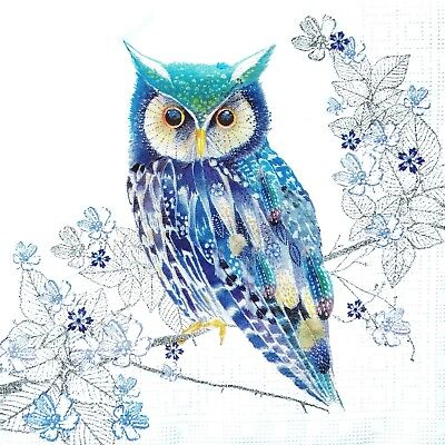 4 Lunch Paper Napkins for Decoupage Party Table Craft Vintage Blue Owl