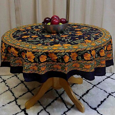 Unique Handmade 100% Cotton French Floral Tablecloth Round 60 Inch Black & Amber