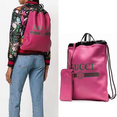 $2150 GUCCI Pink Leather VINTAGE LOGO WEB Drawstring Rucksack BACKPACK TOTE Bag