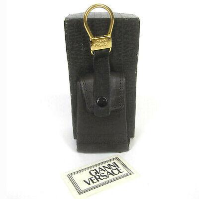 Gianni Versace Vintage Mid 90s Leather Mini Bag Key Chain Fob Dark Brown Unused