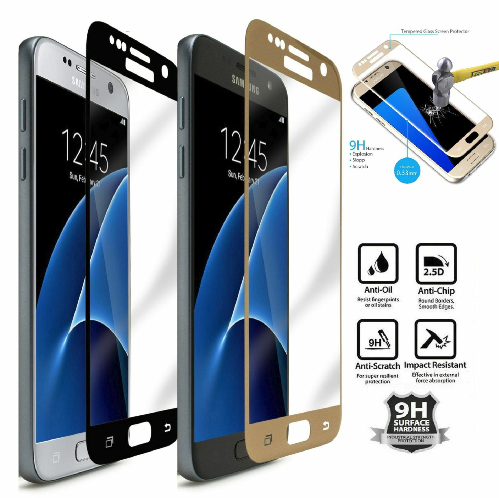 Premium Full Cover Screen Protector Tempered Glass For Samsung Galaxy S7