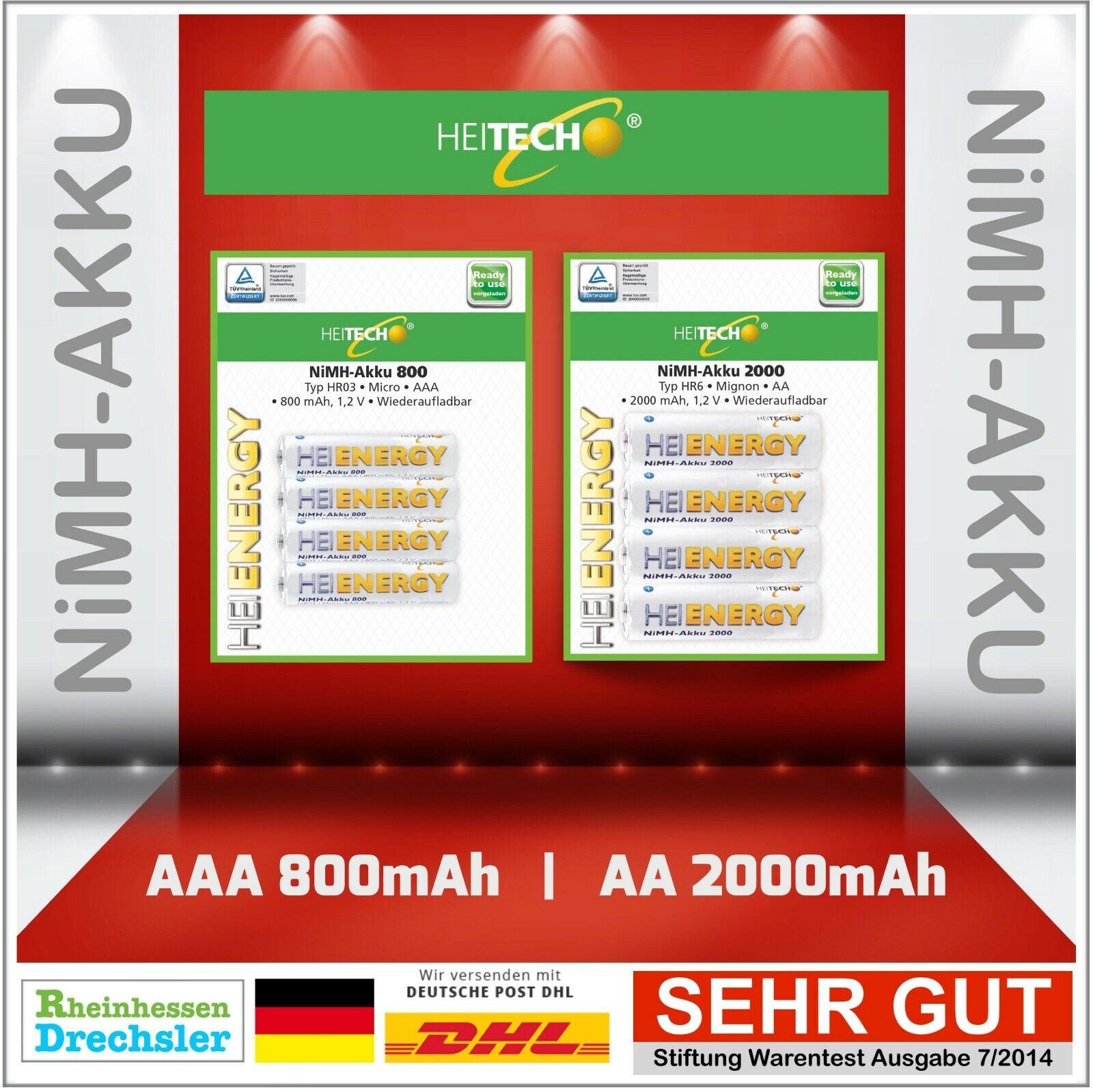 Heitech Batterie Accu Aa AAA 800mAh 950mAh 2000mAh 2550mAh Aa Micro HR6 HR03