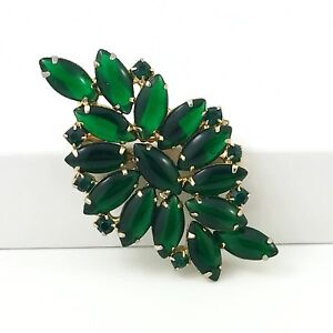 Large Beautiful Vintage Green Rhinestone Brooch.