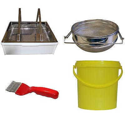 Honigernte-Set, Entdeckelungsgeschirr, gabel, Honig-Sieb, Honig-Eimer, Dr Liebig