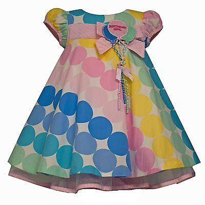 Bonnie Jean Toddler Girls Polka Dots Birthday Balloons Dress Multi  2T 3T 4T