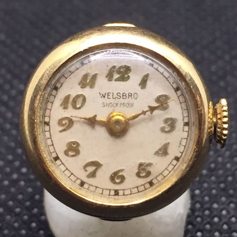 Vintage Rare Welsbro Ladies Ring Watch Analog Mechanical Stainless Steel Base