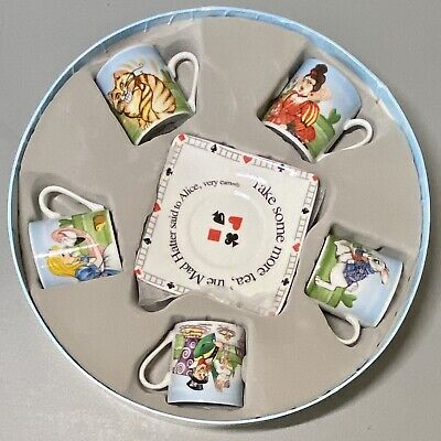 Paul Cardew England ALICE IN WONDERLAND Tea Party Set of 5 Cup(3oz) & Saucer NEW