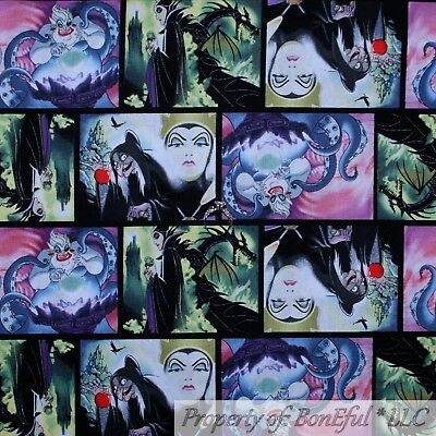 BonEful FABRIC FQ Cotton Quilt Gray White Black Bird Red Disney Witch Maleficent