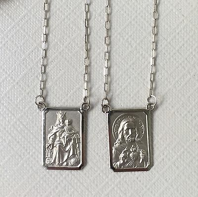 18k White Gold Scapular Lady of Carmel with heart of Jesus Medium Medal