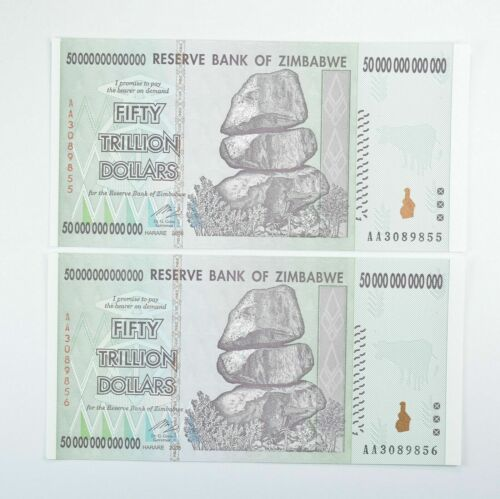 2 Consecutive 50 TRILLION Dollar - Zimbabwe - Unc Notes - 2008 Authentic