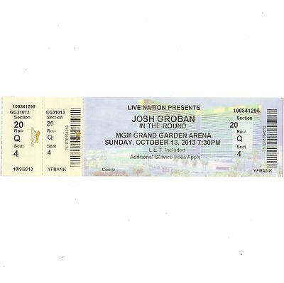 JOSH GROBAN Concert Ticket Stub LAS VEGAS NV 10/13/13 MGM GRAND IN THE ROUND