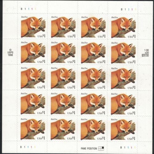 #3036 - $1 Red Fox Sheet - F/VF NH