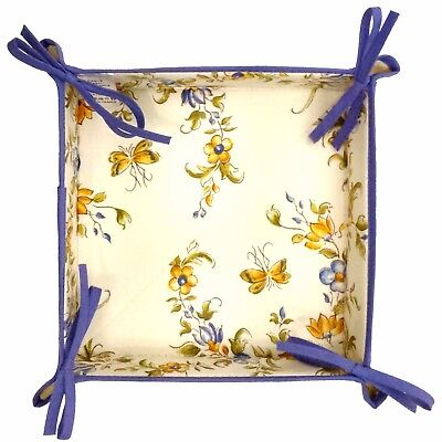 Provencal Coated Cotton Bread Basket Moustiers Blue  Made In France 8x8x2 ()