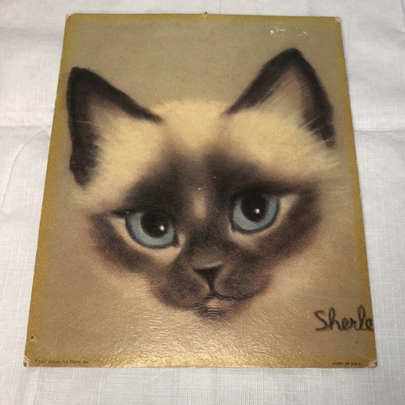 CUTE VINTAGE 1967 SHERLE LITHO SIAMESE CAT KITTEN ENCORE ART PRINTS USA