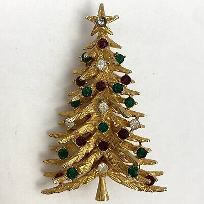 Vintage Signed Art Rhinestone Christmas Tree Brooch Pin Brushed Gold Tone Red  ()