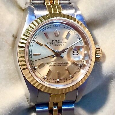 ROLEX LADIES STAINLESS STEEL & 18k YELLOW GOLD OYSTER PERPETUAL DATEJUST WATCH