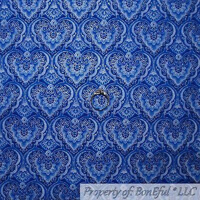 BonEful FABRIC FQ Cotton Quilt Blue Silver Metallic Heart Flower Damask Stripe -