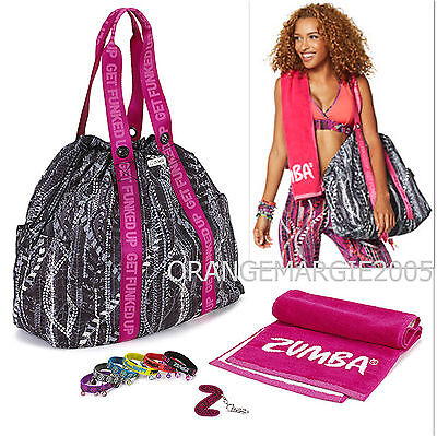 Zumba Tote Bag Duffel GIFT SET +Towell+KeyRing+Bacelets for Gym & Travel Jumbo!