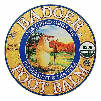 Foot Balm 2 Oz Tin - 1X Tin Certified Organic Badger Peppermint & Tea Tree Foot Balm 2 oz TRAVEL SIZE