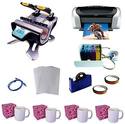 Double Station Mug Heat Press Machine Sublimation Epson Printer C88 Ciss Kit