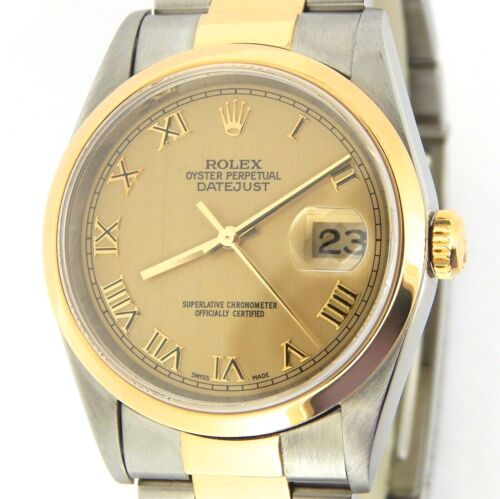 Rolex Datejust 16203 Mens 18k Gold Stainless Steel Watch Oyster Band Roman Dial
