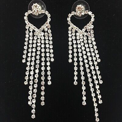 Clear Rhinestone Dangle Falling Heart Earrings Formal Pageant Long Chandelier  ()