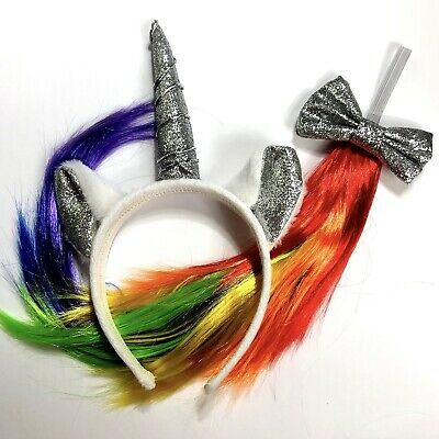 New Unicorn Halloween Costume Accessories Rainbow Tail Silver Sparkle Headband