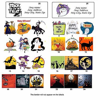 30 Personalized Return Address Labels Halloween Buy 3 get 1 free (ha1) (Halloween Ha)
