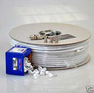 100m RG6 White Satellite Aerial Cable Digital Coax Sky + Clips & 10 Connectors