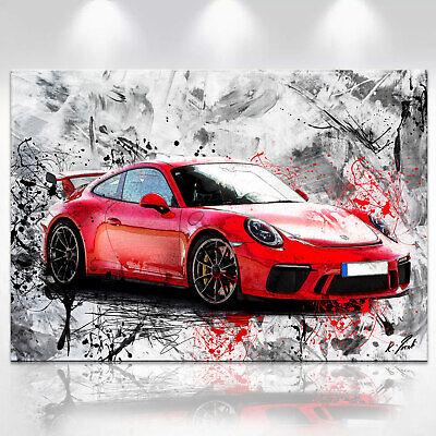 Abstraktes Auto Bild Porsche Sport Leinwand Kunst Bilder Wandbilder XXL