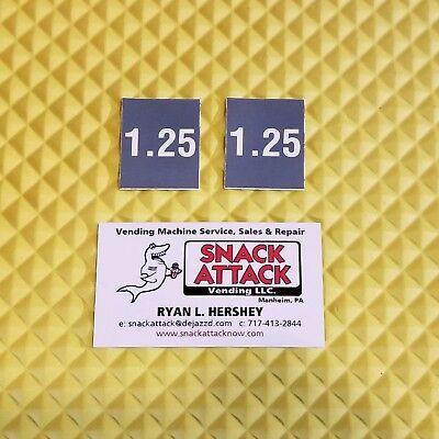 2 Soda Vending Machine 1.25 Vend Label Price Stickers Free Ship
