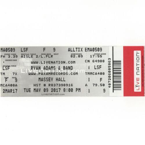RYAN ADAMS Concert Ticket Stub TORONTO 5/9/17 MASSEY HALL PRISONER TOUR Rare
