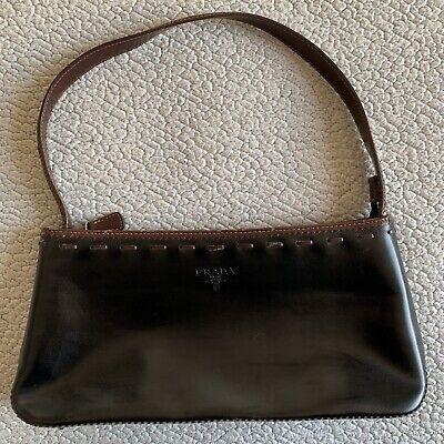 Vintage Prada Black Milano Dal 1913 Black Brown Leather Shoulder Handbag Satchel