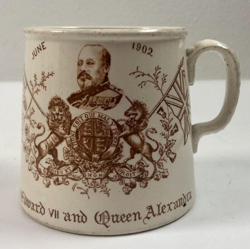Rare Antique 1902 Coronation Cup King Edward VII Queen Alexandra BSDS