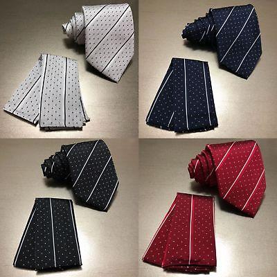 Mini Polka Dots Stripes Neck tie and & Pocket Square Hankie Formal Party Wedding (Stripes And Polka Dots)