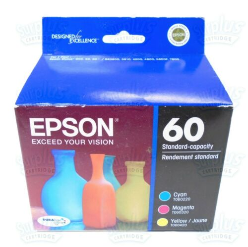 Epson 60 3-Pack Ink Cartridges Cyan/Magenta/Yellow T060520