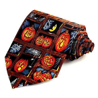 Pumpkin Spiders Men's Necktie Halloween Holiday Web Scary Gift Black Neck Tie  - Pumpkin Spiders