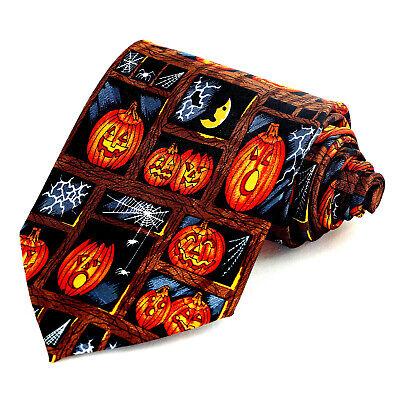 Pumpkin Spiders Men's Necktie Halloween Holiday Web Scary Gift Black Neck Tie ](Pumpkin Spiders)