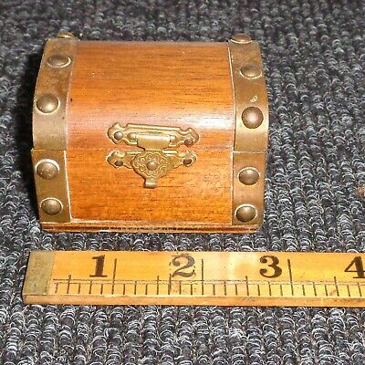 Small Pirate Treasure Chest Trunk Wooden BOX  Vintage Antique RING BOX?