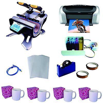 Double Station Sublimation Mug Heat Press Machine Epson Printer C88 Ciss Kit