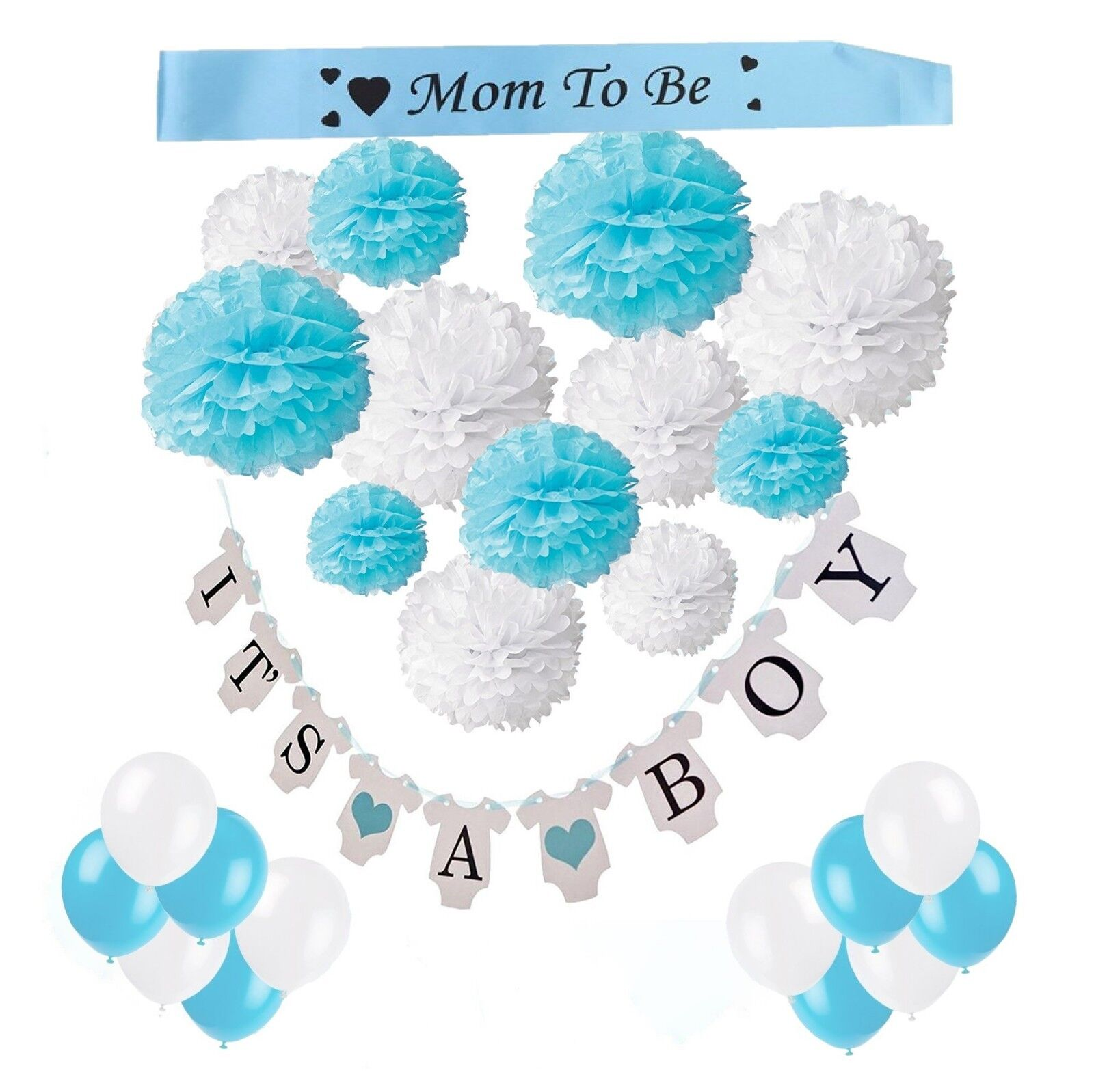 "Babyshower- Babyparty Deko Junge  Pompons-Girlande ""It´s a boy""-Luftballons"
