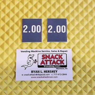 2 Soda Vending Machine 2.00 Vend Label Price Stickers Free Ship