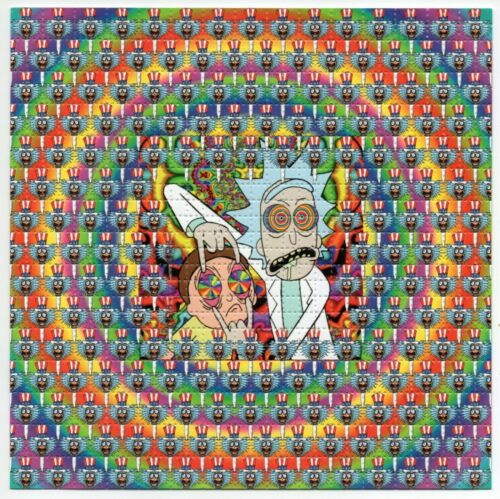 Rick and Morty Tripping Balls BLOTTER ART perforated sheet paper psychedelic art