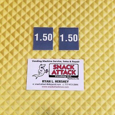 2 Soda Vending Machine 1.50 Vend Label Price Stickers Free Ship