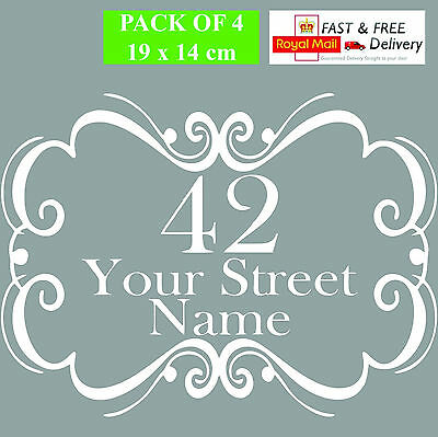 4 X Recycling Wheelie Bin Custom Vinyl Stickers House Number Street Address