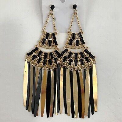 Massive Big Dangle Chandelier Earrings Boho Bohemian Black Gold Tone Pierced NWT Black Gold Chandelier